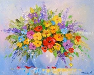 A bouquet of flowers, Paintings, Fine Art,Impressionism, Floral, Canvas,Oil,Painting, By Olha   Darchuk