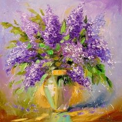A bouquet of lilacs, Paintings, Impressionism, Floral,Nature, Canvas,Oil,Painting, By Olha   Darchuk