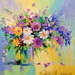 A bouquet of meadow flowers, Paintings, Impressionism, Floral, Canvas,Oil,Painting, By Olha   Darchuk