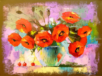 A bouquet of poppies in a vase, Paintings, Impressionism, Botanical,Floral,Nature, Canvas,Oil,Painting, By Olha   Darchuk