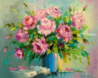A bouquet of roses, Paintings, Impressionism, Botanical,Floral, Canvas,Oil,Painting, By Olha   Darchuk