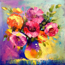 A bouquet of spring flowers, Paintings, Impressionism, Botanical,Floral, Canvas,Oil,Painting, By Olha   Darchuk