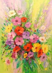 A bouquet of wild flowers, Paintings, Fine Art,Impressionism, Floral,Still Life, Canvas,Oil,Painting, By Olha   Darchuk