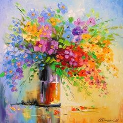 A bouquet of wild flowers, Paintings, Impressionism, Botanical,Floral,Nature, Canvas,Oil,Painting, By Olha   Darchuk