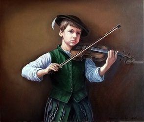 A boy playing violin, Paintings, Realism, Children, Canvas,Oil, By Serghei Ghetiu