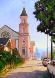 A Church in Berkeley, Paintings, Impressionism, Cityscape, Oil,Wood, By Mason Kang