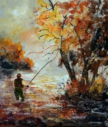 A fisherman, Architecture,Decorative Arts,Drawings / Sketch,Paintings, Expressionism, Nature, Canvas, By Pol Ledent