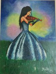 A girl with violin, Drawings / Sketch, Abstract,Performance Art, Memorial, Acrylic,Canvas, By Malika Patel