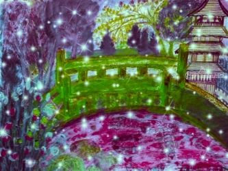 A Green Japanese Bridge<br>Garden., Digital Art / Computer Art,Paintings, Impressionism, Landscape, Digital,Mixed,Painting, By Catherine Bayani