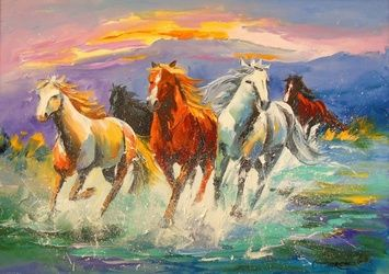 A herd of horses, Paintings, Impressionism, Animals,Landscape, Canvas,Oil,Painting, By Olha   Darchuk