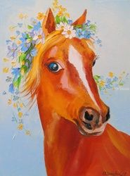 A horse, Paintings, Fine Art,Impressionism, Animals, Canvas,Oil,Painting, By Olha   Darchuk