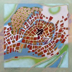 A journey to Italy, Abriola, Paintings, Abstract, Analytical art, Oil, By federico cortese