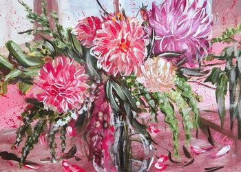 A LIFE TIME BANQUET- DAHLIAS-<br>Framed and Ready to hang, Paintings, Abstract,Impressionism,Modernism, Botanical,Floral,Nature,Still Life, Acrylic, By HSIN LIN