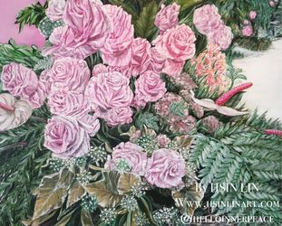 A LIFE TIME COMMITMENT - Pink<br>Roses And Anthuriums, Paintings, Fine Art,Modernism,Photorealism,Romanticism, Botanical,Floral,Nature,Still Life,Weddings, Acrylic,Canvas, By HSIN LIN