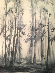 A Lifting Fog, Paintings, Impressionism, Landscape, Watercolor, By Stephen Keller