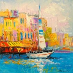 A lone sailboat at the dock, Paintings, Impressionism, Cityscape,Landscape, Canvas,Oil,Painting, By Olha   Darchuk