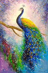 A magnificent peacock, Paintings, Impressionism, Animals,Botanical,Nature, Canvas,Oil,Painting, By Olha   Darchuk