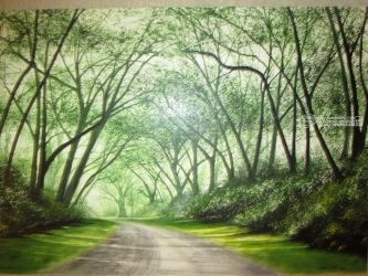 A Road Less Traveled, Paintings, Realism, Landscape, Oil, By Stephen Keller