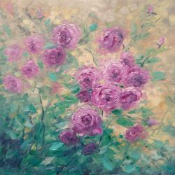 A PIECE OF MAY original oil<br>painting of roses bush, Paintings, Fine Art,Impressionism, Botanical,Floral,Nature, Canvas,Oil, By Emilia Milcheva