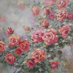 A pieceof June, original<br>painting of blooming roses, Paintings, Fine Art,Impressionism,Realism, Floral,Nature, Acrylic, By Emilia Milcheva