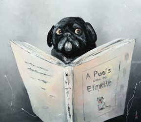 A Pug's guide to Etiquette, Paintings, Impressionism, Animals,Humor, Canvas,Oil, By Liubov Kuptsova