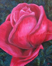 A Rose, Paintings, Expressionism, Botanical, Acrylic, By Jane Adrianson
