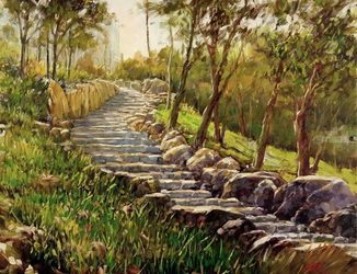 A Stairway to His Home, Paintings, Impressionism, Landscape, Canvas,Oil, By Mason Kang