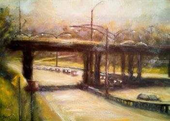 A Sunny Day On The Highway, Paintings, Fine Art,Impressionism, Cityscape, Oil,Wood, By Angela Suto