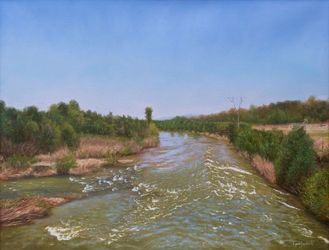 A View from the Old Bridge in<br>Spring, Paintings, Photorealism,Realism, Landscape,Nature, Canvas,Oil, By Dejan Trajkovic