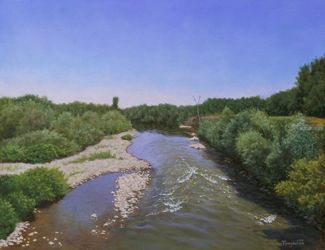 A View from the Old Bridge in<br>Summer, Paintings, Fine Art,Photorealism,Realism, Landscape,Nature, Canvas,Oil, By Dejan Trajkovic