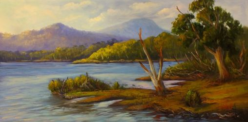 A view of Lake St Clair,<br>Tasmania Oil on canvas, Paintings, Fine Art,Impressionism,Realism, Landscape, Oil, By Christopher Vidal