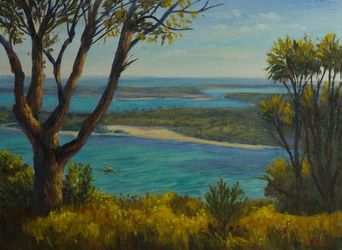 A view on Lakes Entrance,<br>Gippsland, Victoria - Oil on<br>Canvas, Paintings, Fine Art,Impressionism,Realism, Landscape, Canvas,Oil, By Christopher Vidal