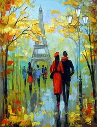 A walk in Paris, Paintings, Impressionism, Architecture,Landscape,People, Canvas,Oil,Painting, By Olha   Darchuk