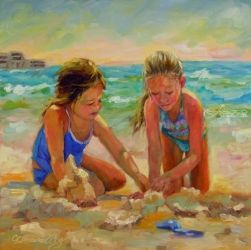 A World of their Own, Paintings, Fine Art,Impressionism, Children,Figurative,People,Portrait,Seascape, Oil, By Chris Brandley