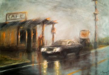 Abandoned Gas Station, Paintings, Fine Art,Impressionism, Cityscape, Oil,Wood, By Angela Suto