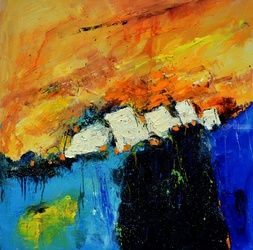 Abstract 885514, Paintings, Expressionism, Decorative, Canvas, By Pol Ledent