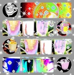Abstract Collage Coffee Cups<br>Pictures, Digital Art / Computer Art,Poster,Printmaking, Abstract,Fine Art, Avant-Garde,Composition,Daily Life, Digital,Mixed,Painting,Photography: Photographic Print, By Catherine Bayani