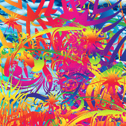 Abstract Magical Garden, Digital Art / Computer Art,Paintings, Abstract,Commercial Design,Hallucinogens, Avant-Garde,Botanical,Decorative,Fantasy,Floral, Digital, By Matthew Lacey