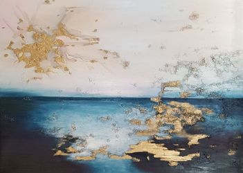 Abstract sea At the edge of<br>the water, Paintings, Abstract,Expressionism,Impressionism, Nature,Seascape, Canvas,Oil, By Larissa Uvarova