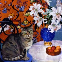 Adorable Kitty Loving Matisse, Paintings, Realism, Still Life, Acrylic, By Annie Day