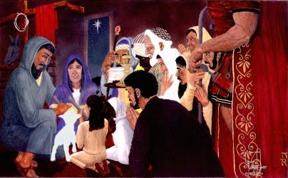 Adoration of the Magi, Digital Art / Computer Art,Illustration,Paintings, Fine Art,Realism, Historical,Inspirational,Multicultural / Ethnic,Narrative,People,Religious,Spiritual, Acrylic,Pencil, By Marty Jones