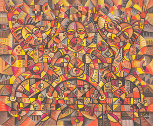 African Dancers. Original<br>painting from Cameroon, Africa, Paintings, Abstract,Cubism,Fine Art, Music, Oil, By Angu Walters Che