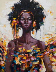African Queen portrait<br>painting  - Original oil<br>painting, Paintings, Abstract,Impressionism, People, Canvas,Oil, By Anastasiya Valiulina