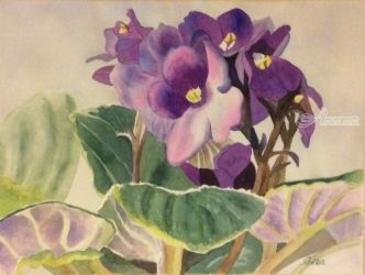 African Violet, Paintings, Impressionism, Floral, Watercolor, By Christina Giza