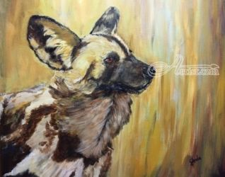 African Wild dog, Paintings, Expressionism, Animals, Acrylic, By Gerda Faure