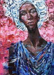 African woman portrait<br>painting, Paintings, Impressionism, People,Portrait, Oil, By Anastasiya Valiulina