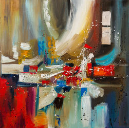 AFTER PARTY (framed), Paintings, Abstract, Fantasy, Canvas,Oil, By Liubov Kuptsova