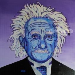 Albert Einstein, Paintings, Impressionism, Portrait, Acrylic, By Curtis Dickman