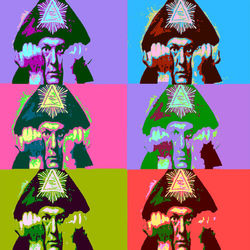 Aleister Crowley Pop Art, Digital Art / Computer Art, Commercial Design,Pop Art,Shock, Portrait, Digital, By Matthew Lacey