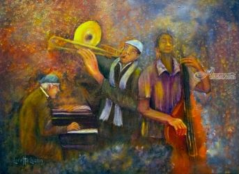 All That Jazz, Paintings, Expressionism, Cityscape,Daily Life,Multicultural / Ethnic, Oil, By Loretta Luglio